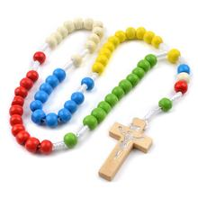 cheap five colors wooden beads missionary rosary cord knotted catholic rope  rosary Environmentally