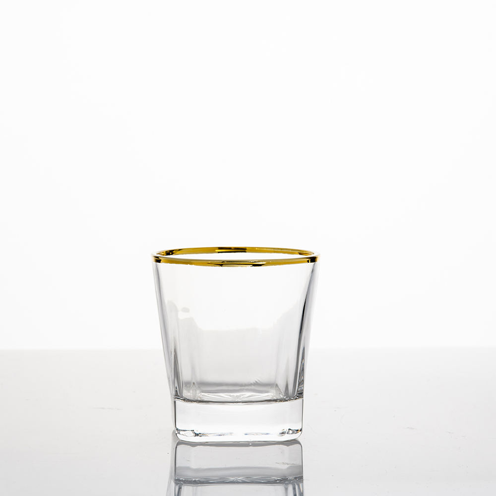 Impressive 11oz Thick Bottom Crystal Whisky Glass With Gold Rim