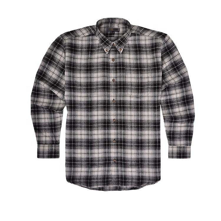 Wholesale formal plaid flannel 2 ply cotton shirts for men