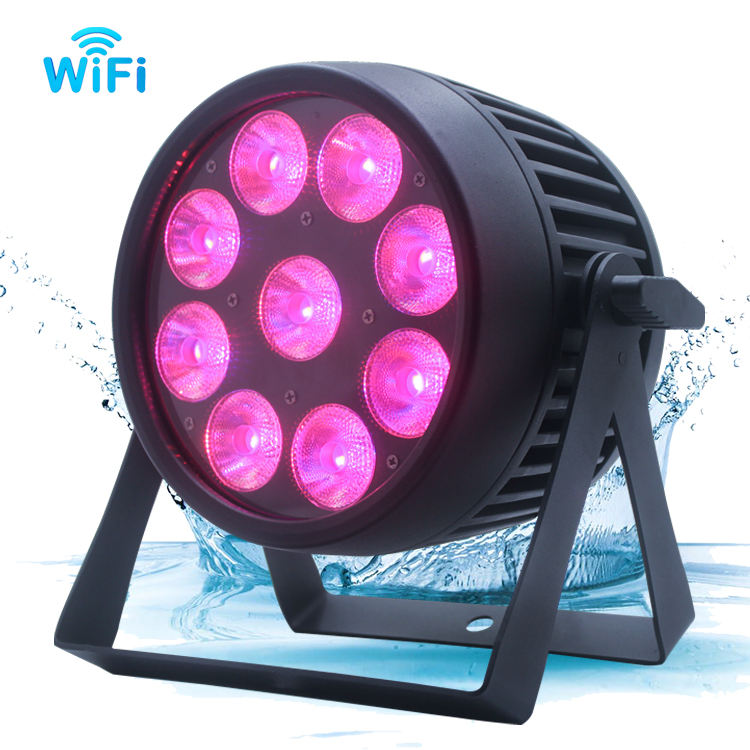 Stage wash light 9x18w 6in1 flat battery powered led par IP65 Waterproof 9x12W RGBAW UV LED par lights