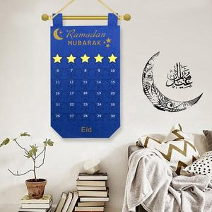 Ourwarm 28*50cm Wall Hanging EID Mubarak Kareem Countdown Felt Calendar For Muslim Balram DIY Ramadan Party Decoration