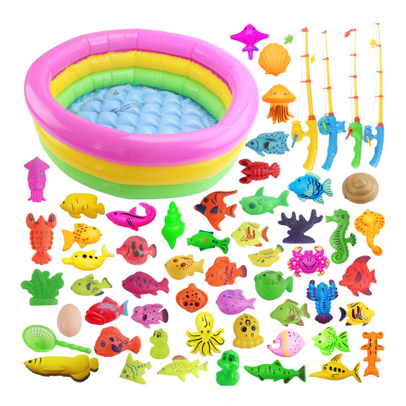 Amazon Hot Sell Children's Magnetic Fishing Toy With Inflatable Pool Parent-Child Interactive Game Baby Bath Toys