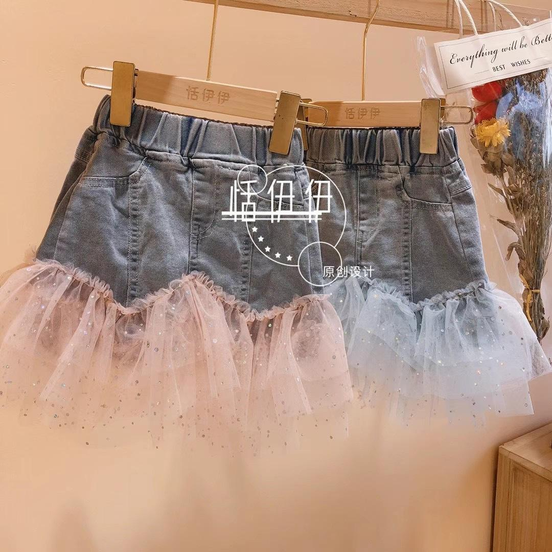 2021 New Summer Denim Skirt With Lace Patchwork Skirt for Toddler Girl Pink Blue 3-7T 5pcs/lot