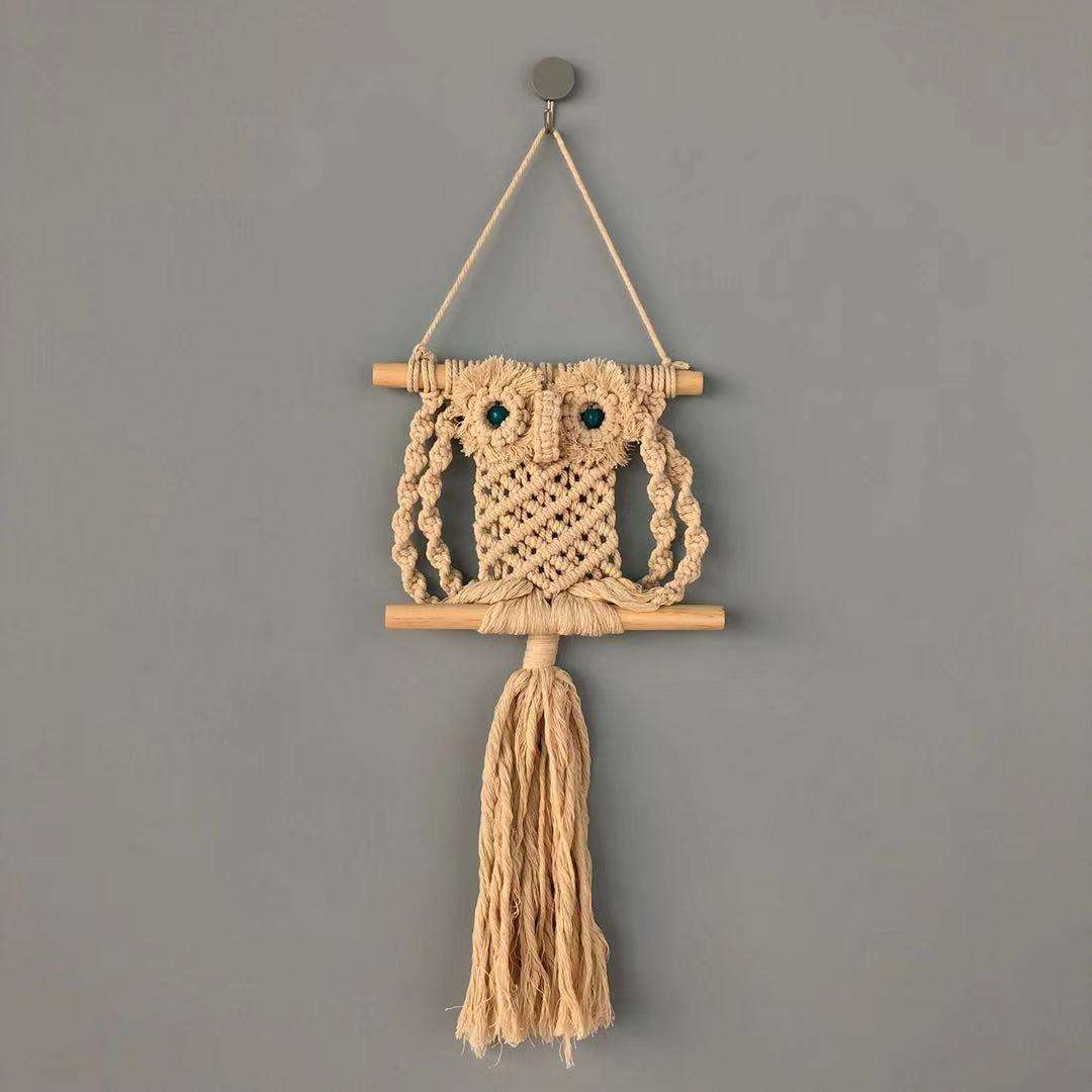 Europe vintage macrame single twist cotton owl hanging decoration and wall art