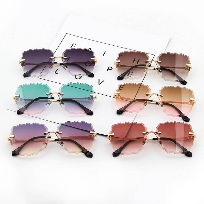 TAC [ Unisex ] Unisex Factory Sunglasses 2020 New Arrivals Fashion Gafas De Sol Dazzling Glasses Ocean Lens Beach Wave Shape Rimless Sunglasses Unisex