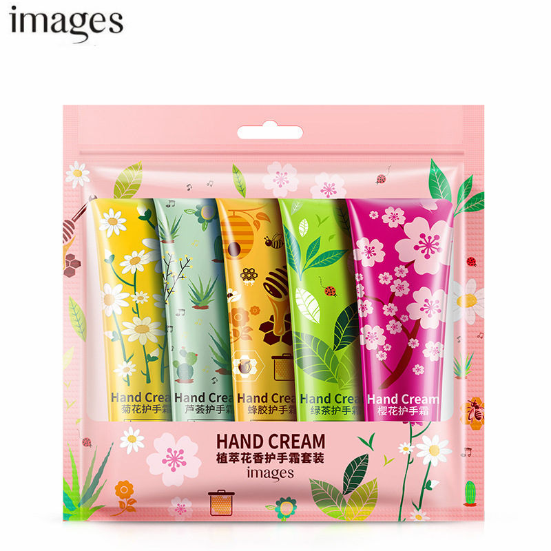 5pcs/set IMAGES Hand Cream Lot Moisturizing Nourishing Anti Chapping Anti Aging Plant Flowers Winter Mini Hand Care Lotion Set