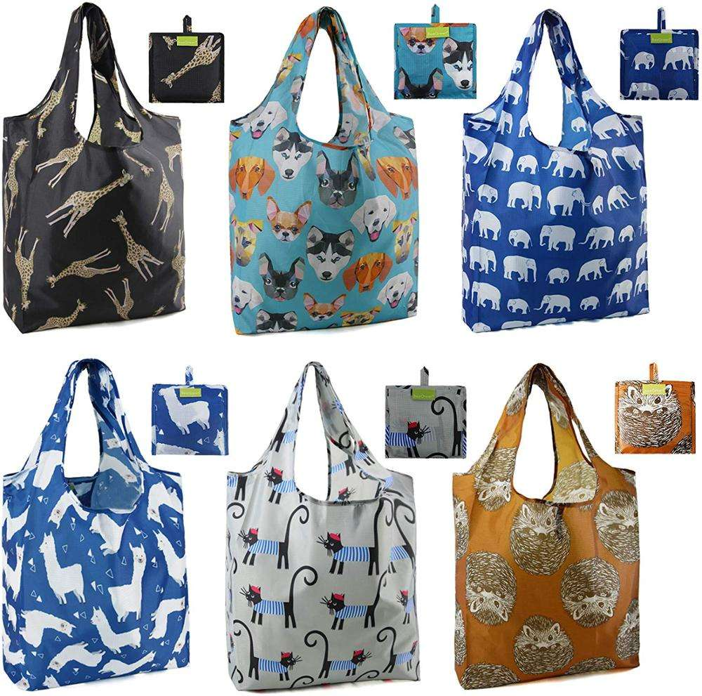 Reusable Grocery Bags X large Capacity Reusable Bags with Attached Pouch Bulk Pack 6 Machine Washable Reusable Shopping Bag