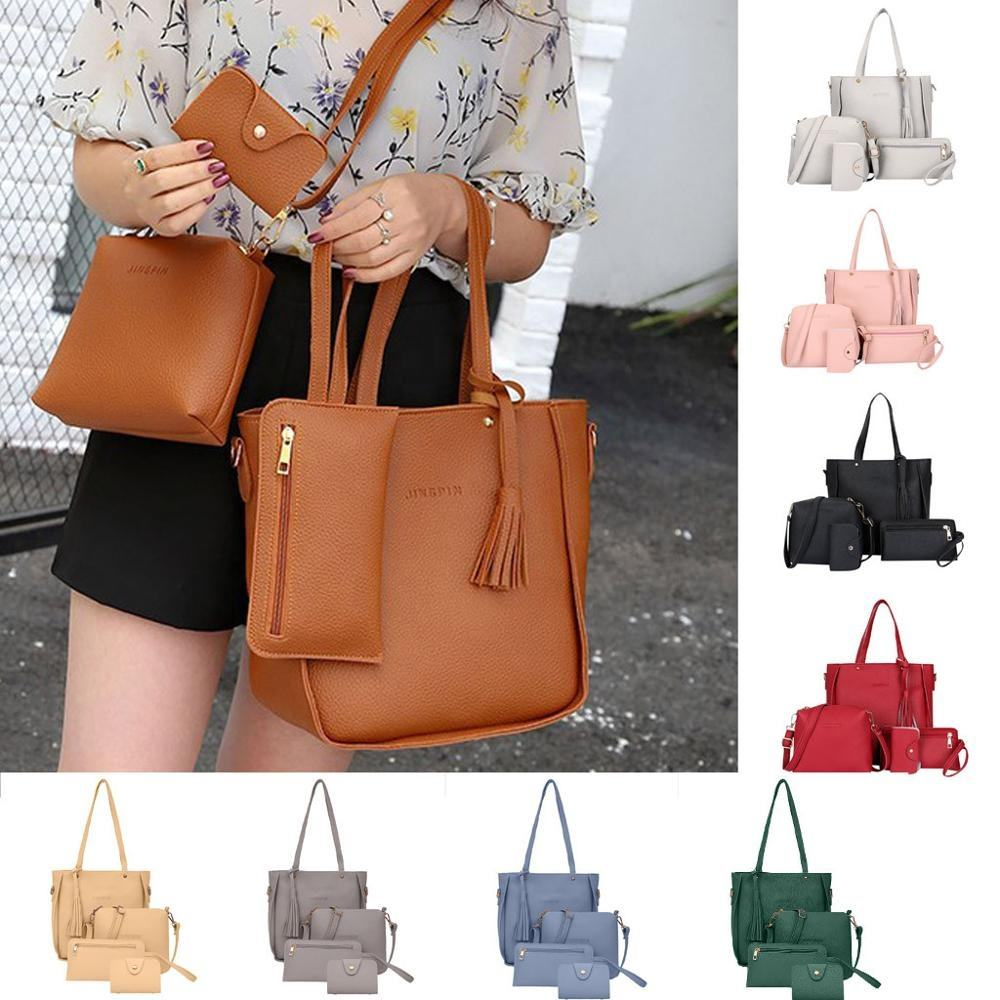 2020 Sets Van 4 Handtas Schoudertas Tote Messenger Purse Bag Drop Shipping Vrouwen Lady Handtassen Set