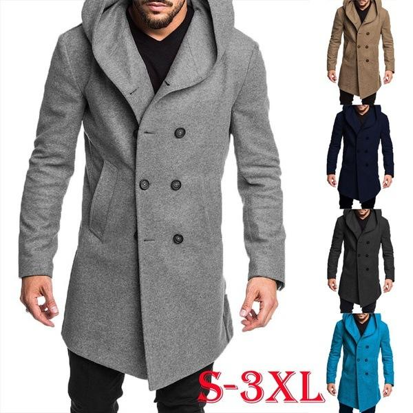 BS1101 Winter Men Clothing 2020 Solid Side Pockets Double Breasted Hooded Woolen Coat