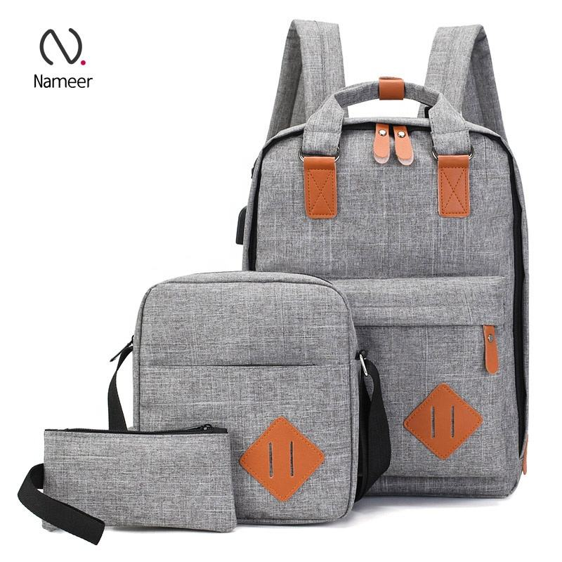 Unisex Polyester Business Travel College school Shoulder Bags pouch 3 in 1 Daypack Student Bookbags Backpack Set