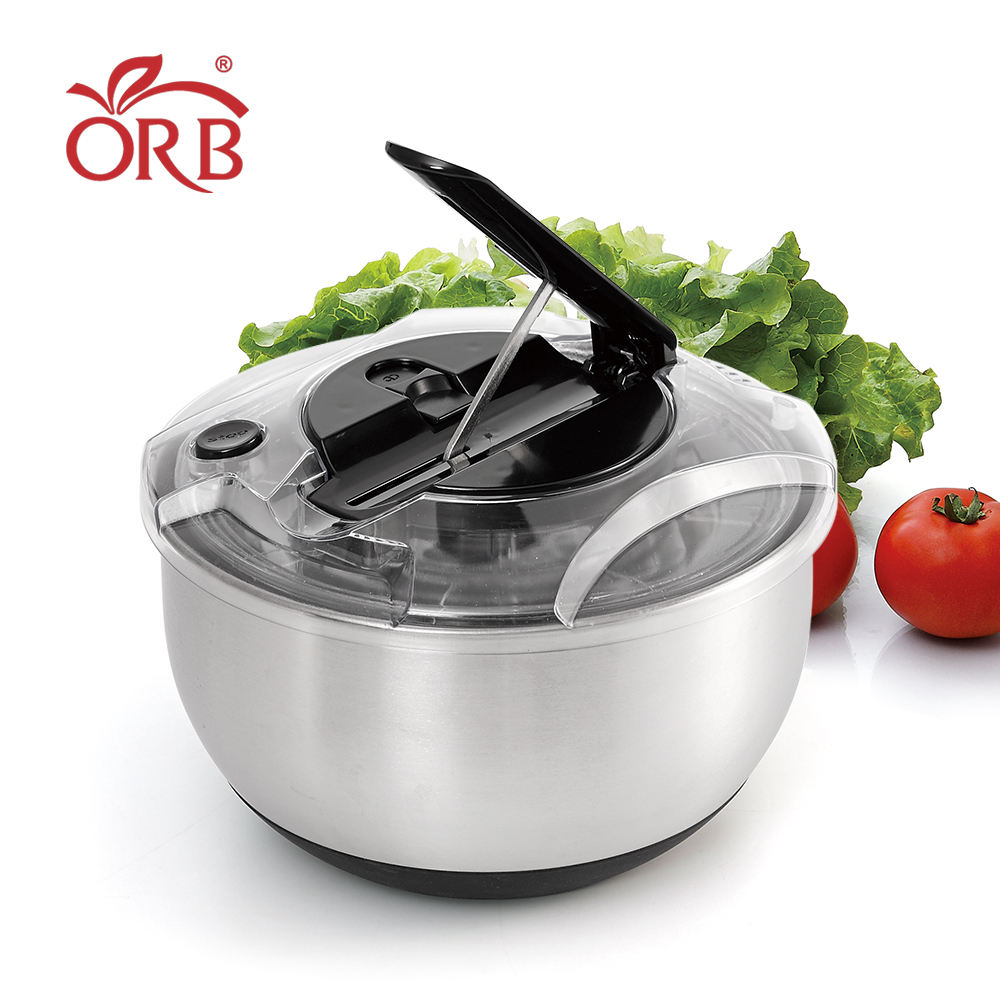 5l stainless steel hand press salad spinner