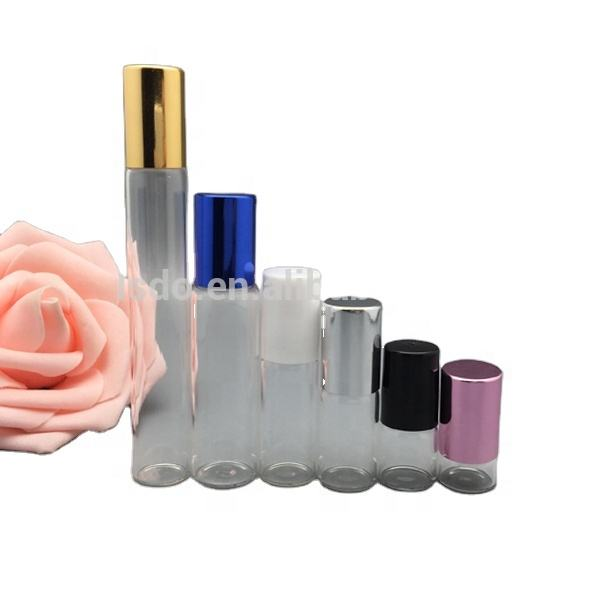 wholesale 1ml 2ml 4ml 5ml 10ml clear glass vials perfume roll on bottles with metal and plastic cap