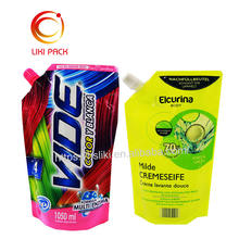 Waterproof Multi layer Laminated Plastic Stand Up Spout Pouch For Liquid spout bag of detergent