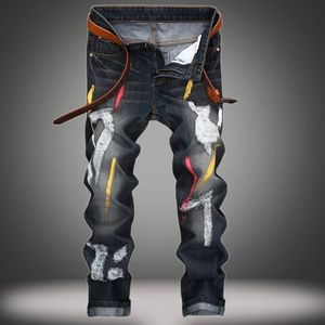 High Quality Men Designer Jeans Straight Pants Popular Hole Long Trousers
