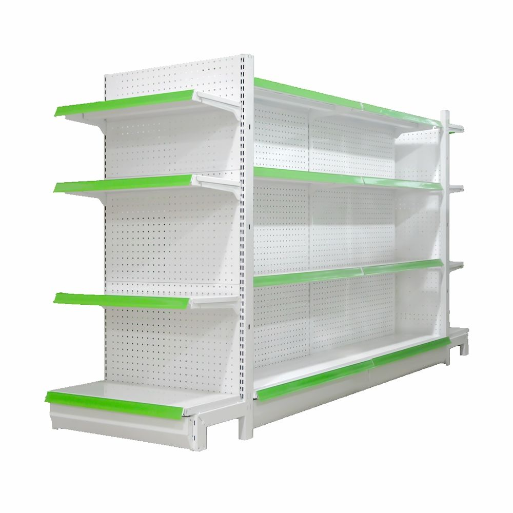 Store Display Wall Racks Shop Gondola Double Side White Color