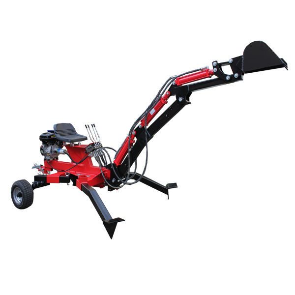 Towable backhoe with 4 hydraulic cylinder for tractor/atv/trailer