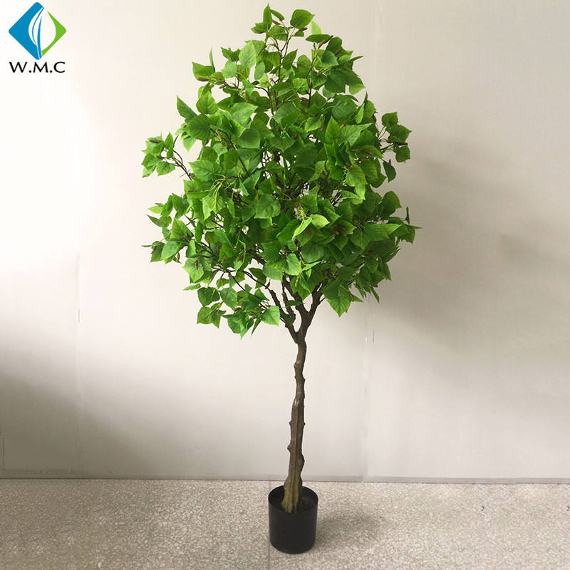 Factory Wholesale Artificial Plastic Birch Leaves Tree Potted Environment Decorative Plant R057008