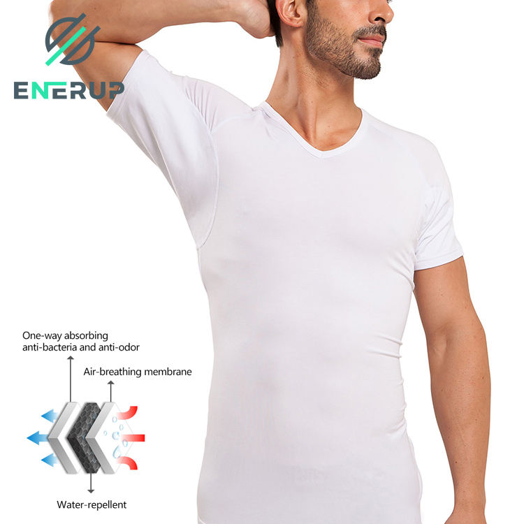Enerup OEM/ODM Polyester Solid Crew Neck Sweat Proof Shirt Crewneck Plain Men's T-Shirts Undershirts