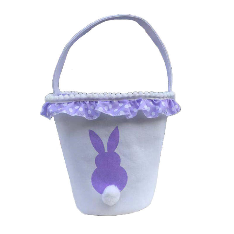 Easter Bunny Basket Eggs Bags Pink Transser Cute Fluffy Tail Purple Canvas Cotton Rabbit Personalized Handbag Bucket Tote Bag Storage Gifts Candies for Kids Girls Toys with Handles