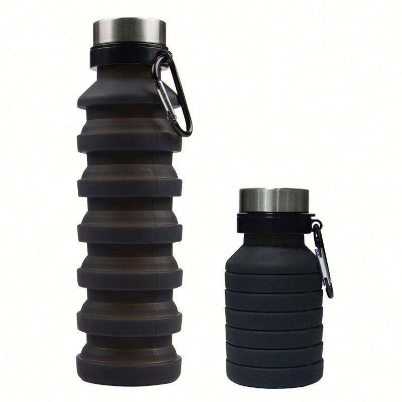BPA free kids foldable customized silicone collapsible water bottle