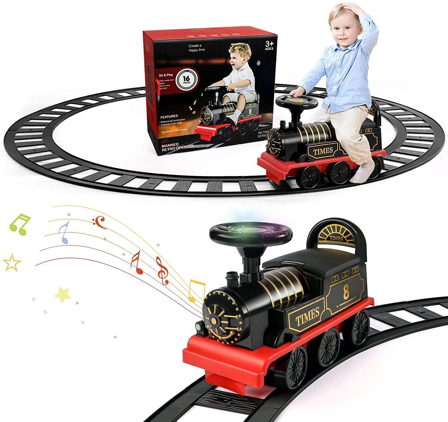 Ride On Train with Track Electric Ride On Toy Storage Seat Train Toy Ride for Kids Christmas Birthday Gift