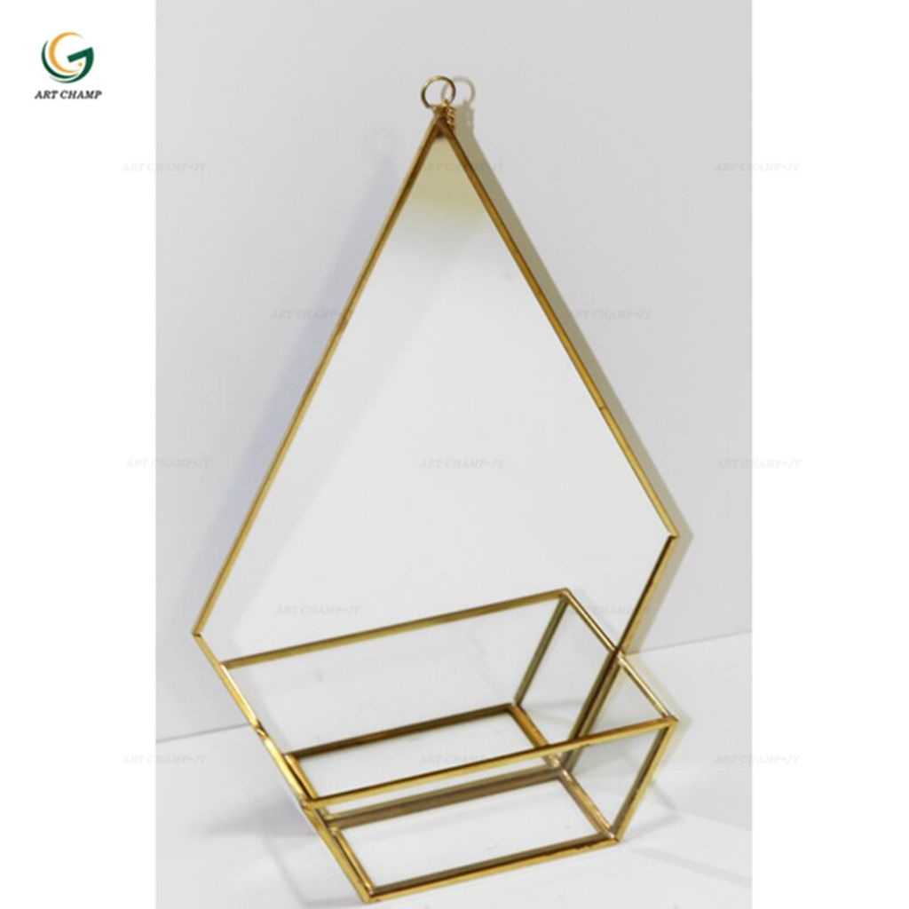 Diamond shape metal glass display showcase hanging modern home wall decoration