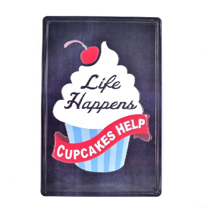 Life Happens Cupcakes Help 3D Embossed Metal Sign Tin Plaque Metal Crafts Vintage Garage Bar Coffee Cake Shop Poster Decor