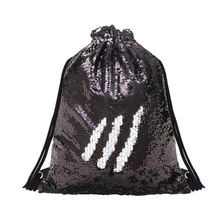 Shiny Reversible Magic Mermaid Sequin Dance Bag Glitter Sequin Sport Gym Drawstring Bag Backpack