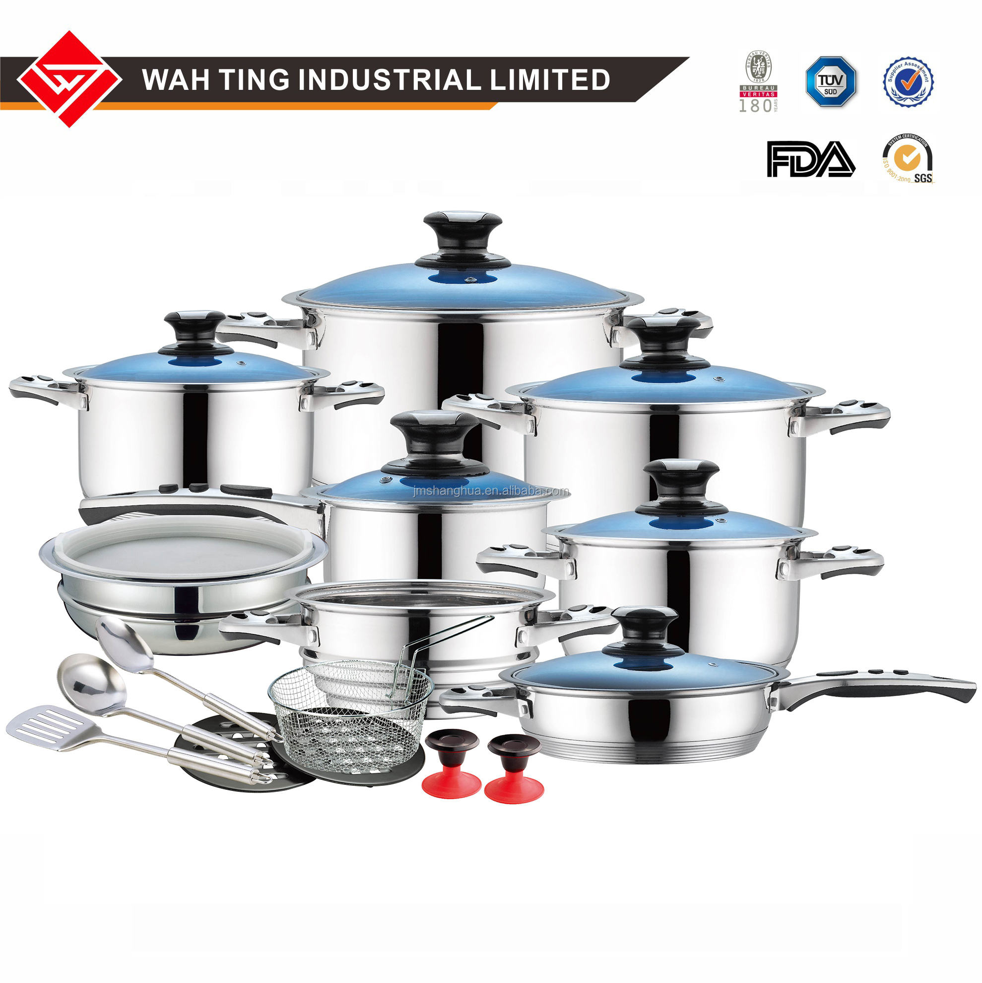 new item-23Pcs- Germany Standard -S/S-stock Pot- 9 OR 11 layer bottom cookware Set with elegant Blue color Glass Cover
