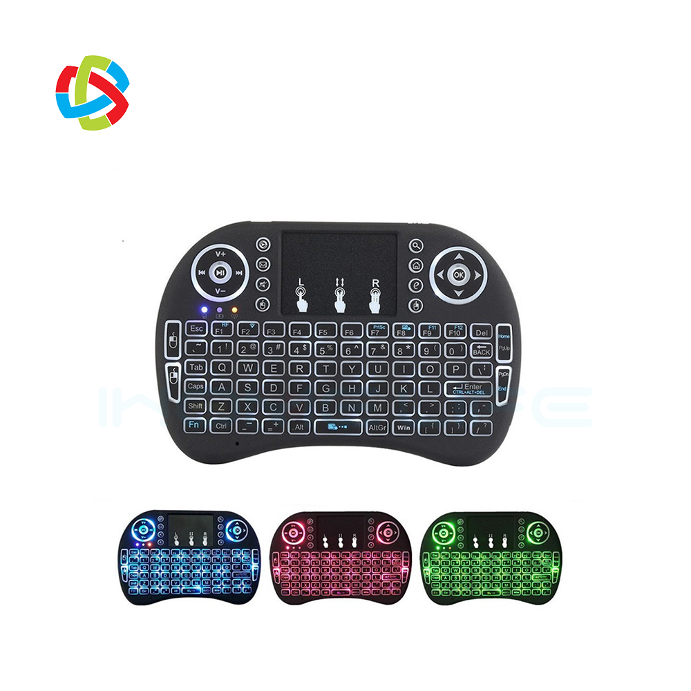 Ihomelife Cheapest mini keyboard i8 backlit 3 color 2.4G wireless remote control for android tv box and gaming box
