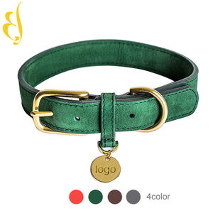 OEM Professional Custom brand logo private label luxury leather dog collar