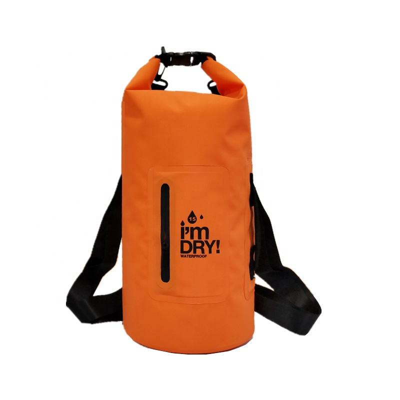Double Shoulders Outdoor OEM Ocean Pack Camping Floating PVC Bucket Backpack Custom Logo Print Wet Zipper Age Waterproof Dry Bag