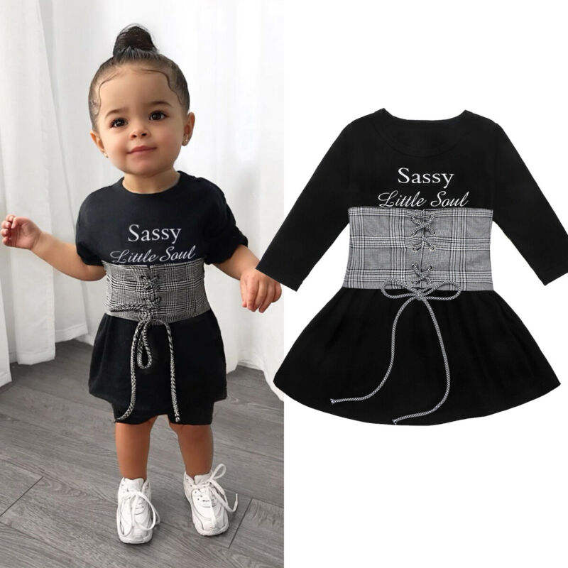 Cute Kids Baby Girls Dress+Belt 2pcs 1-6Y Long Sleeve Letter A-Line Dress+Plaid Belt Vest Outfits Set