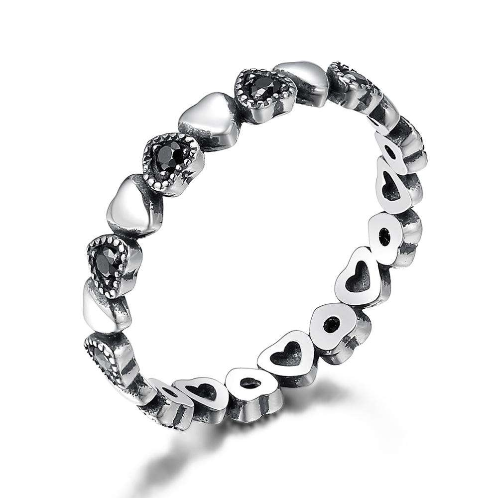 New Arrival 925 Sterling Silver Stackable Ring Heart Black CZ Finger Rings