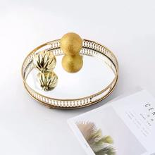 Luxury gold decorative home accessories round mirror tea coffee wine serving tray