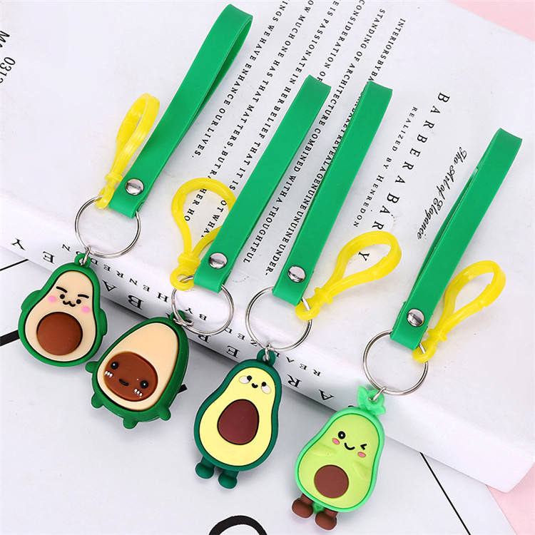 Leye Professional Made Bag Car Pendants Promotional Gifts Pvc Avocado Keychains