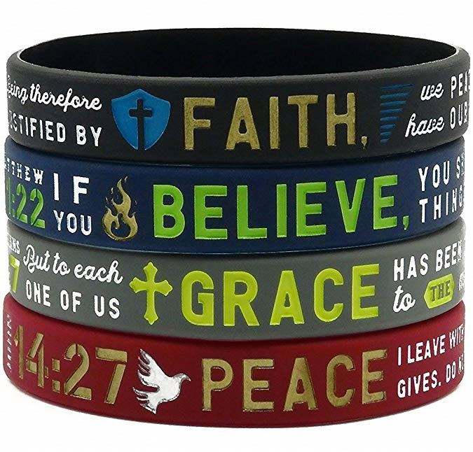 Christian Inspirational Bible Verse Bracelets Silicone Wristbands Engraved Faith, Believe, Peace, Grace Religious Jewelry Gifts