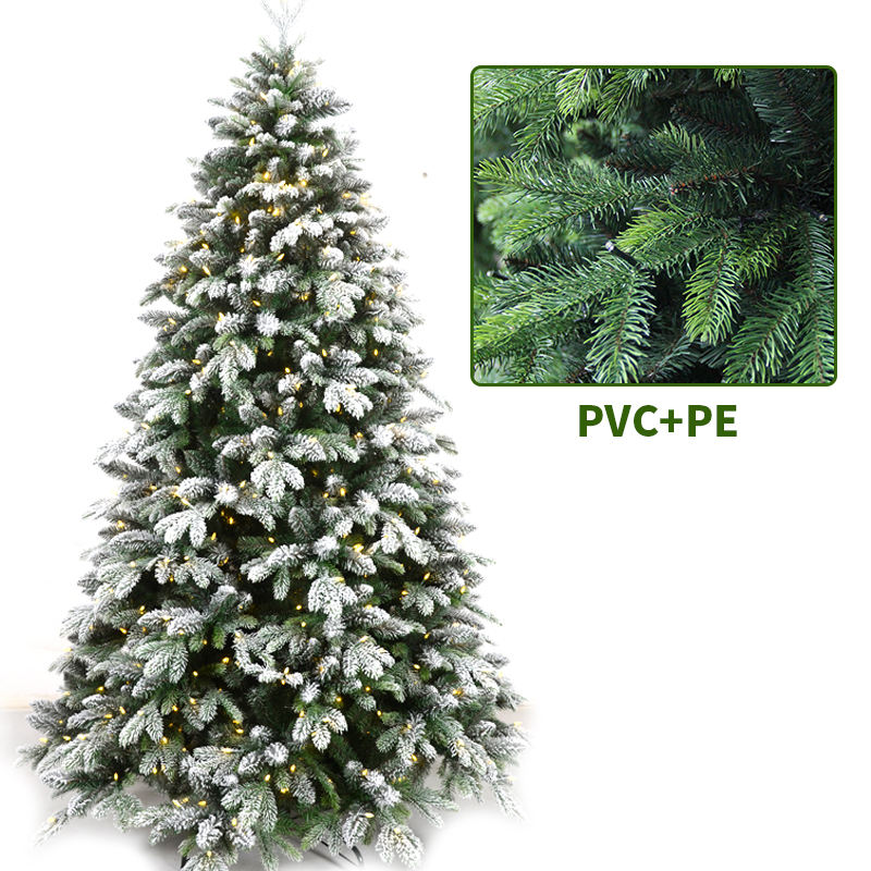 PE And PVC Mixed Artificial Christmas Tree With White Snow