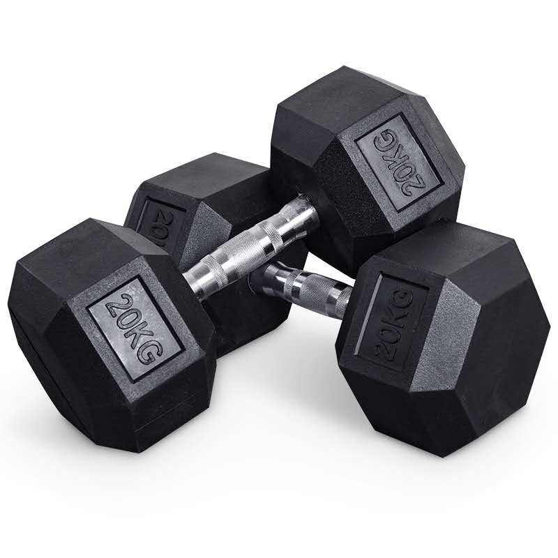 hexagonal rubber coated dumbbell dumbbell set hexagon 5-50 iron rubber tripped chrome hexagonal dumbbell