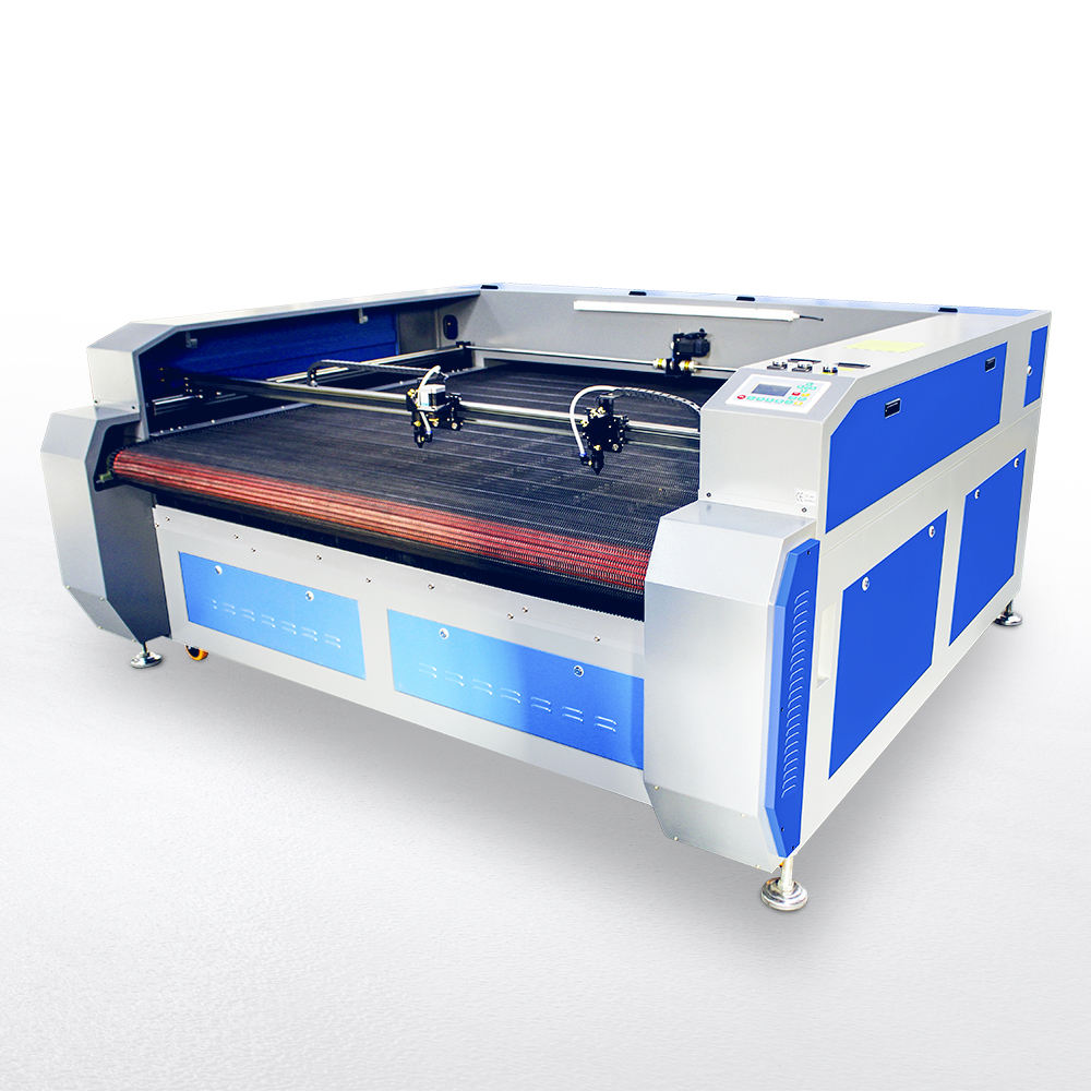 1610 double laser heads automatic feeding plush toy laser cutting printing machine price for fabric cloth textile