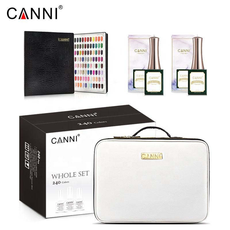 CANNI Gel Polish 240 Colors Whole Set Manicure Nail Art Salon UV Gel Peel Off Base Coat Long Wear No-wipe Topcoat + Color Card