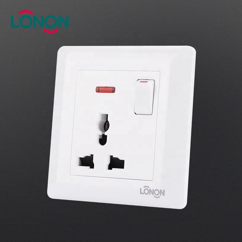 Professional manufacturer british standard Switched Multi-function Socket with Neon