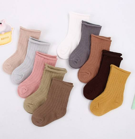 Hot Selling Rolling Organic Cotton Custom logo Socks Cute Pattern Newborn Baby Socks