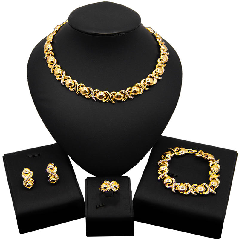 Latest Design 18k Gold Plated Wholesale Artificial Jewellery Set I Love You Heart Shaped Diamond XO Jewelry Set X0011
