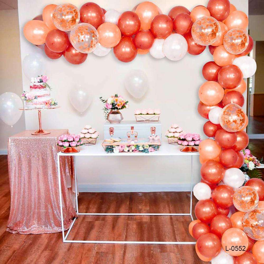 Baby-Dusche Dekorationen Luftballons Girlande Geburtstags feier liefert Roségold <span class=keywords><strong>Thema</strong></span> Ballon Bogen Kit Folie Latex Ballon Girlande Kit