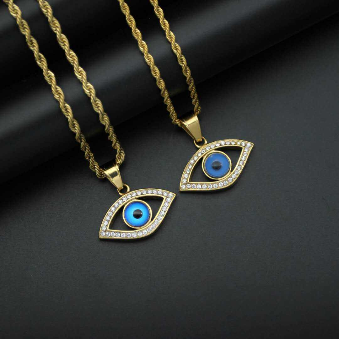 Hot style titanium steel/stainless steel gold plated diamond blue angel evil eye pendant factory price wholesale