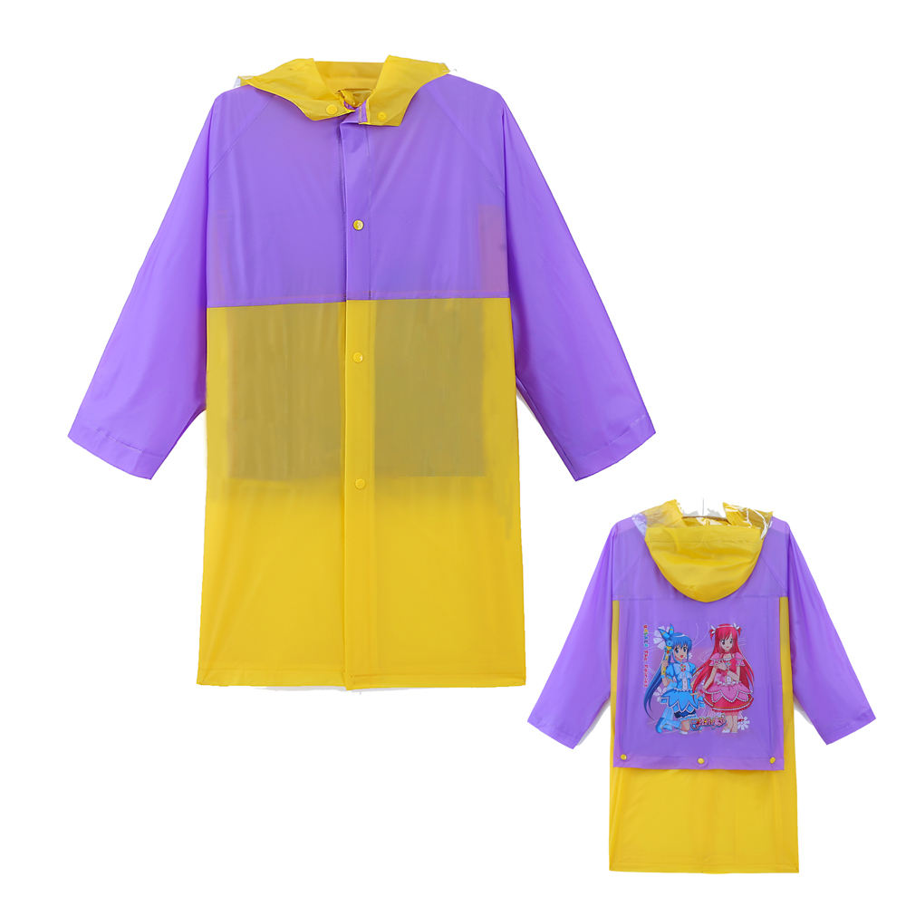 Disposable pvc cartoon waterproof poncho with bag cover raincoats for kids colorful rain gear