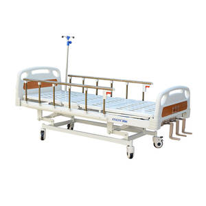 China Mechanical Three Function Height Adjustable Hospital Equipment Beds Manual Medical Patient Bed 3 Crank For Clinic
