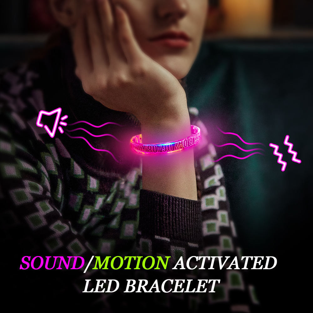 Led Wristband Party Event Wedding Supplies Novelties Music LED Flashlight Sound Light Up LED Bracelet Wristband For Decorations