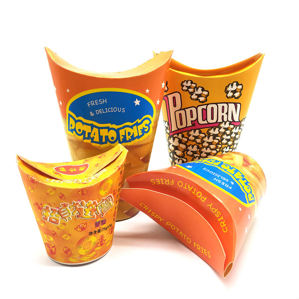 16oz wholesale french fries chips take away packaging paper cup customized popcorn disposable cups with lid